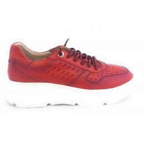 Womens 411-84404-4100 Red Leather Lace-Up Trainers
