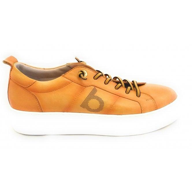 Bugatti Womens 411-88301-4100 Yellow Leather Lace-Up Trainers