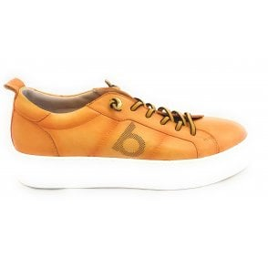 Womens 411-88301-4100 Yellow Leather Lace-Up Trainers