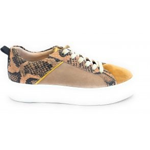Womens 412-88302-3418 Infinity Beige Reptile Print Trainers