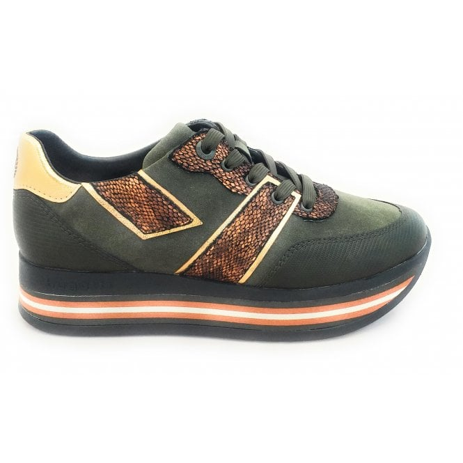 Womens 431-88007-5855 Lian Olive Green Lace-Up Trainers