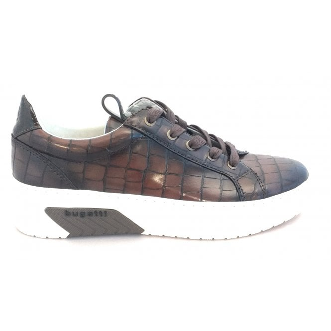 Bugatti Womens 431-99501-5857 Brown Croc Print Lace-Up Trainers