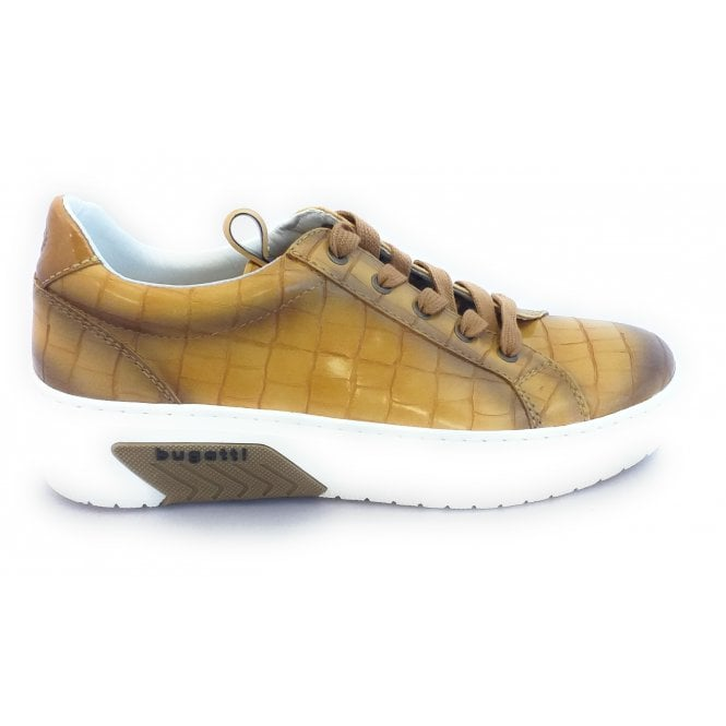 Bugatti Womens 431-99501-5857 Mustard Croc Print Lace-Up Trainers