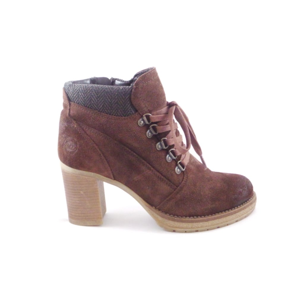 womens brown suede lace up casual ankle boot from