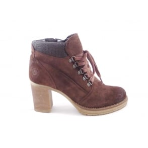 Womens Brown Suede Lace-Up Casual Ankle Boot