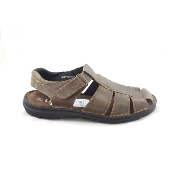 Lotus Woodrow Brown Leather Closed Toe Sandal