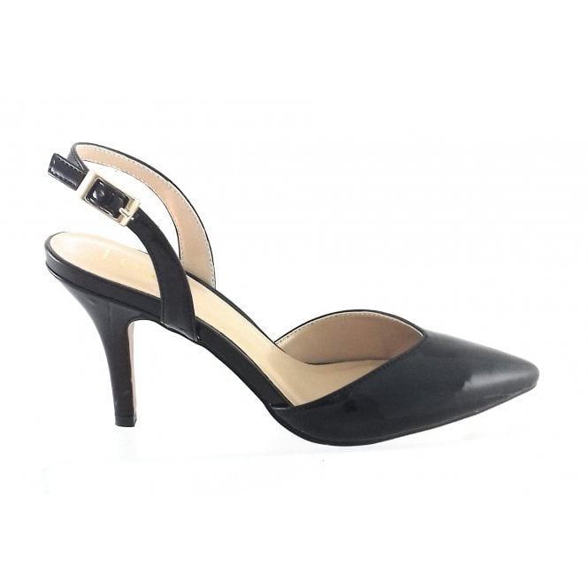 Lotus Yantic Black Patent Sling-Back Court Shoe