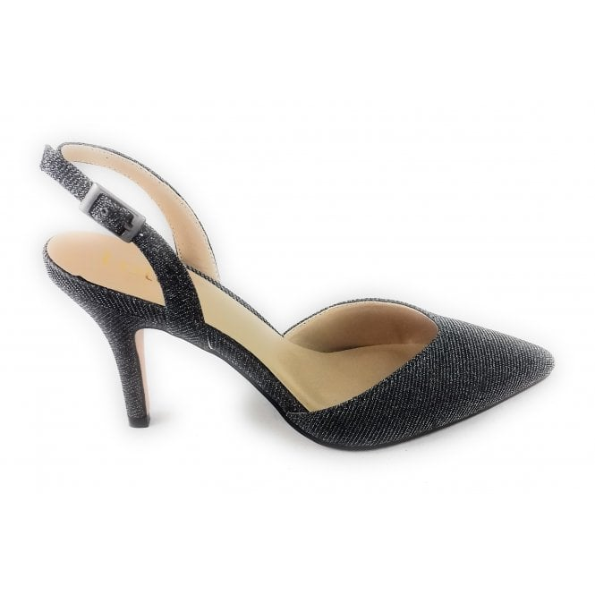 Lotus Yantic Pewter Shimmer Textile Sling-Back Court Shoe