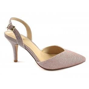 Yantic Pink Shimmer Textile Sling-Back Court Shoe