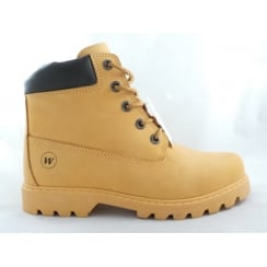 Yellow Leather Mens Leather Lace-Up Boot
