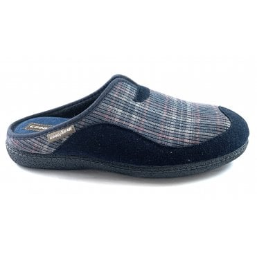 York Blue Check Mens Mule Slippers