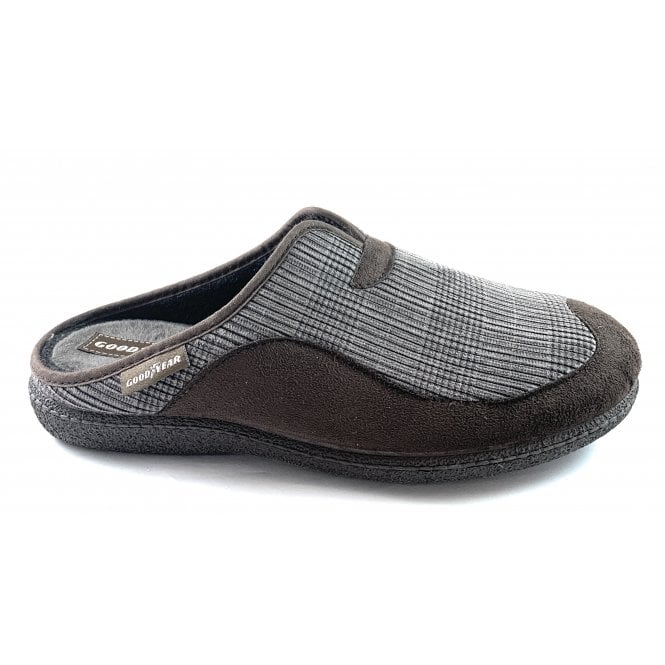 Goodyear York Brown Check Mens Mule Slippers
