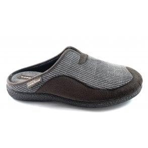 York Brown Check Mens Mule Slippers