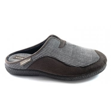 York Brown Check Mens Mule Slippers
