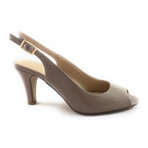 Zaria Dark Nude Patent Sling-Back Court Shoe