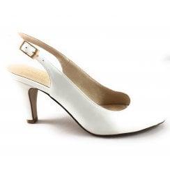 Zaria White Sling-Back Court Shoe