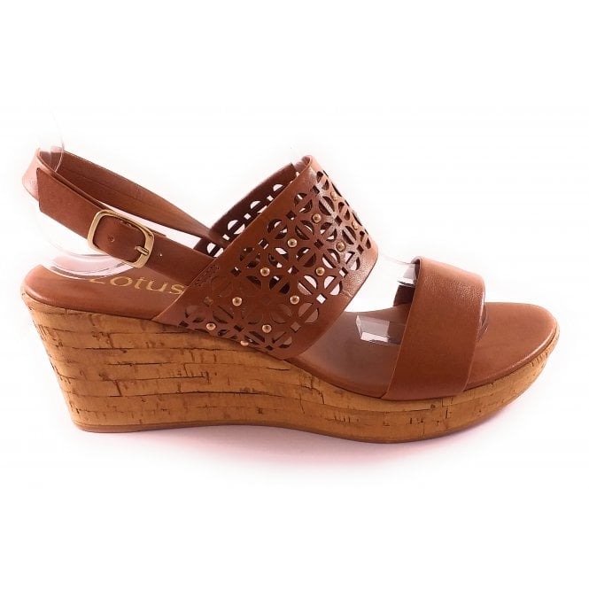 Lotus Zarina Tan Wedge Sandal