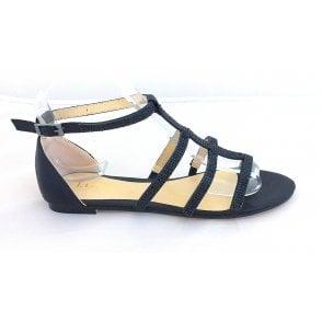 Zelina Black Diamanté Closed Heel Sandal