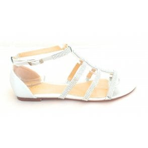 Zelina Silver Diamanté Closed Heel Sandal