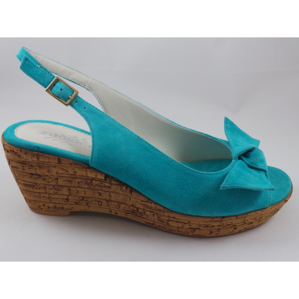 Turquoise Wedge Heels Shoes