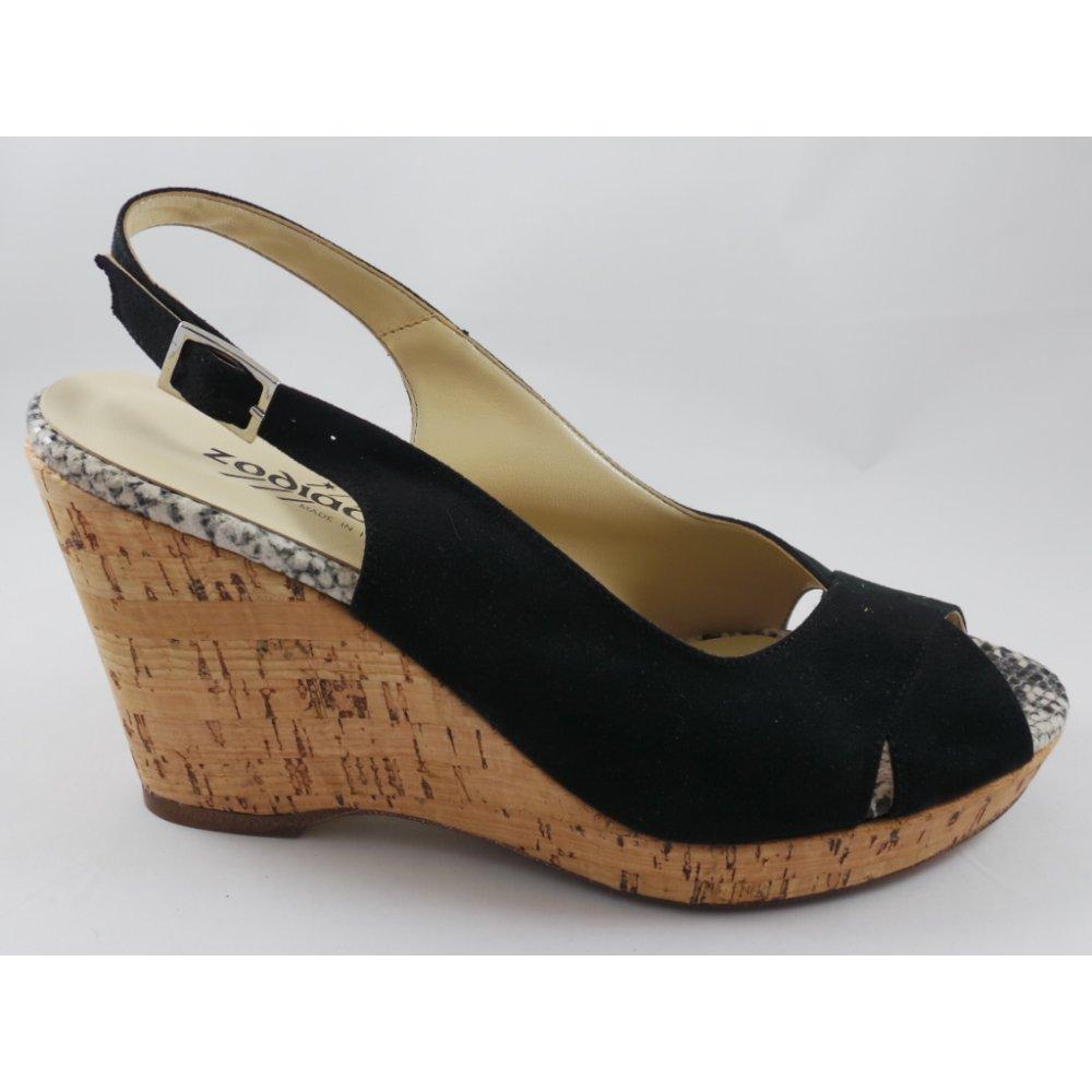 Black nubuck sandals -  D230s Black Nubuck Peep Toe Wedge Sandal
