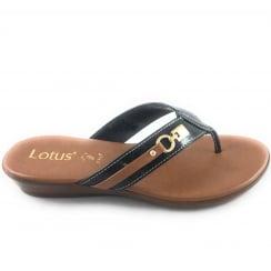 Zorzi Black Patent Croc Print Toe-Post Sandal